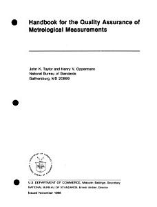 Handbook for the Quality Assurance of Metrological Measurements PDF