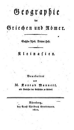 Geographie der Griechen und Roemer aus ihrer Schriften dargestellt PDF