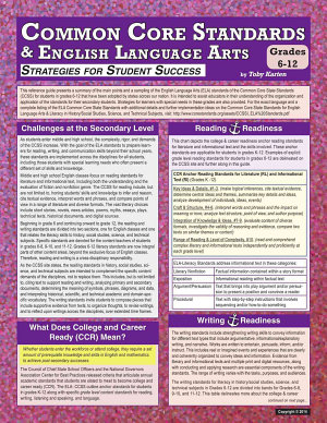 Common Core Standards and English Language Arts Grades 6  12  Strategies for Student Success