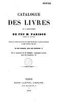 Catalogue des livres de la biblioth  que de feu M  Parison PDF