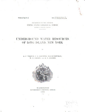 Underground Water Resources of Long Island  New York PDF