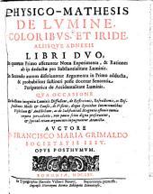 Physico-mathesis de lumine, coloribus et iride, aliisque adnexis libri duo (etc.) Opus posthumum
