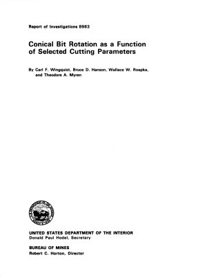 Conical Bit Rotation as a Function of Selection Cutting Parameters