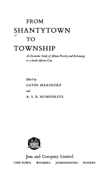 From Shantytown to Township PDF
