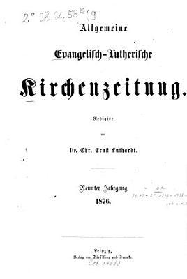 Allgemeine evangelisch lutherische Kirchenzeitung0 PDF