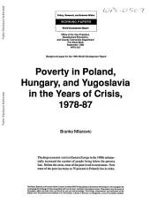 Poverty in Poland, Hungary, and Yugoslavia in the Years of Crisis, 1978-87