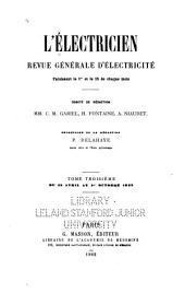 L'Electricien; revue internationale de l'électricité et de ses applications: Volumes3à4