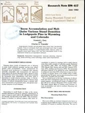 Snow accumulation and melt under various stand densities in lodgepole pine in Wyoming and Colorado