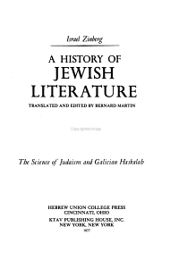 A History of Jewish Literature  The science of Judaism and Galician Haskalah PDF