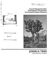 Joshua Tree National Park (N.P.) General Management Plan (GMP) and Development Concept Plans: Environmental Impact Statement