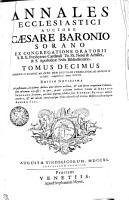 Annales Ecclesiastici auctore Caesare Baronio Sorano  ex congregatione oratorii S  R  E  presbytero cardinali Tit  SS  Nerei   Achillei  38 S  Apostolicae sedis bibliothecario PDF
