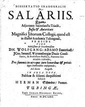 Dissertatio inauguralis de salariis