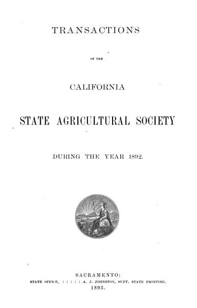Download Report of the California State Agricultural Society Book