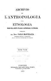 Archivio per l'antropologia e la etnologia: Volumi 7-8