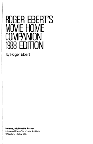Roger Ebert s Movie Home Companion