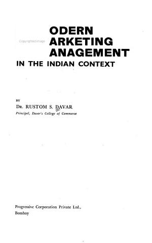 Modern Marketing Management in the Indian Context