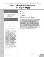 Guided Math Stretch  How Did My Family Use Math Last Night  PDF