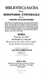 Biblioteca sacra ovvero Dizionario universale delle scienze ecclesiastiche... per la prima volta ... tradotta ed ampliata da una societa di ecclesiastici: Volume 23