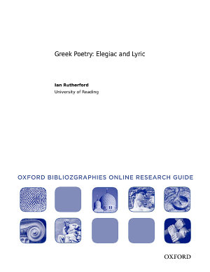Greek Poetry  Elegiac and Lyric  Oxford Bibliographies Online Research Guide PDF