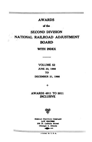 Awards of the Second Division  National Railroad Adjustment Board  with an Appendix