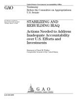 Stabilizing and Rebuilding Iraq  Actions Needed to Address Inadequate Accountability Over U  S  Efforts and Investments PDF