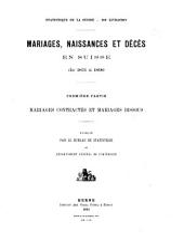 Mariages, naissances et décès en Suisse de 1871 à 1890: ptie. Mariages contractés et mariages dissous