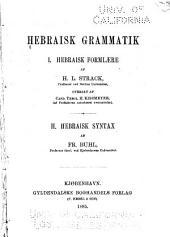 Hebraisk grammatik: p Hebraisk formlære. I.