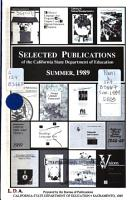 Selected Publications of the California State Department of Education PDF