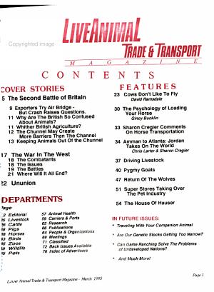 Live Animal Trade   Transport Magazine PDF