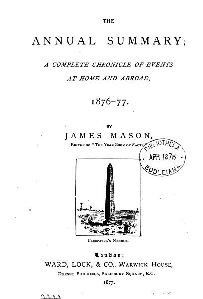 Download The Annual summary  by J  Mason Book