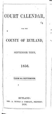 Court Calendar for the County of Rutland