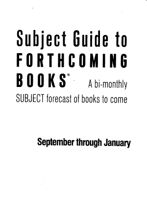 Subject Guide to Forthcoming Books PDF