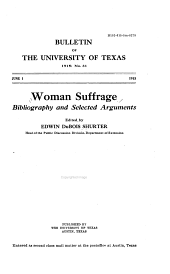 Woman Suffrage: Bibliography and Selected Arguments