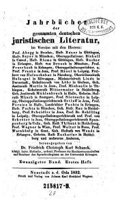 Jahrbücher der gesammten deutschen juristischen Literatur: Band 20
