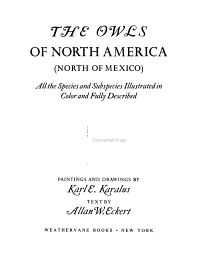 The Owls of North America  North of Mexico