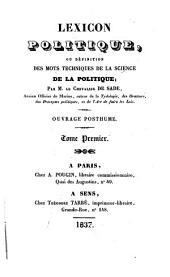 Lexicon politique: ou, Définition des mots techniques de la science de la politique, Volume1