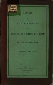 Report of the Directors of the Boston and Maine Railroad, to the Stockholders