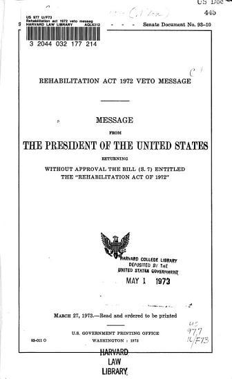 Rehabilitation Act 1972 Veto Message PDF