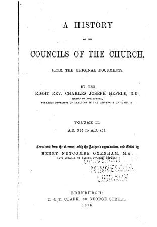 A History of the Councils of the Church  from the Original Documents PDF