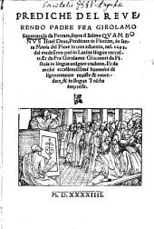 Prediche sopra il Salmo: Quam bonus Israel Deus: predicate in Firenze ... 1493 ...