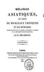 Mélanges asiatiques: Volume1