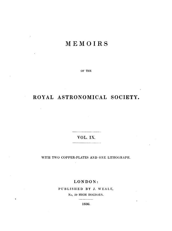 Memoirs of the Royal Astronomical Society Vol. IX'