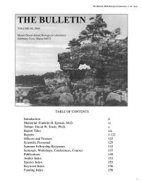 Bulletin of the Mount Desert Island Biological Laboratory