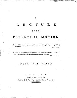 A Lecture on the Perpetual Motion      PDF