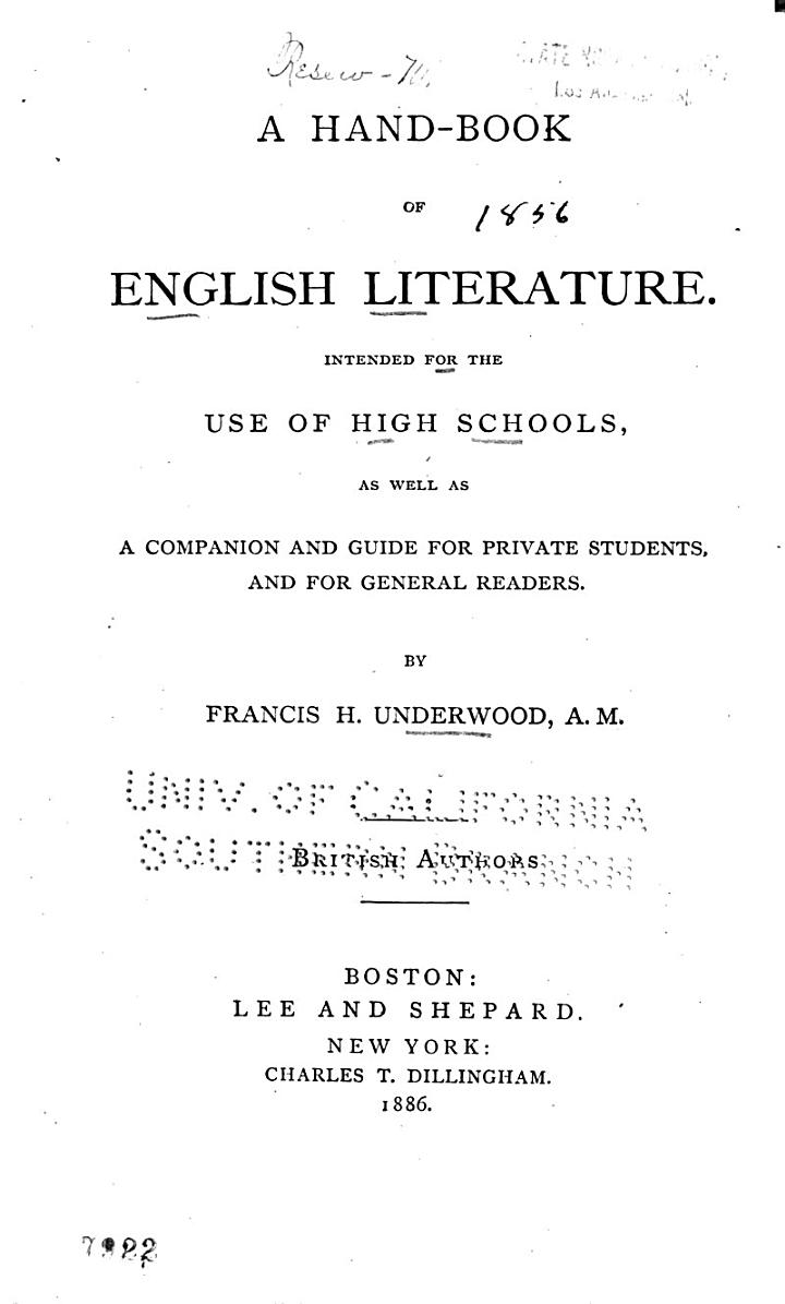 A Hand-book of English Literature, British