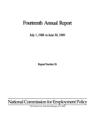 Annual Report to the President and the Congress of the National Commission for Employment Policy