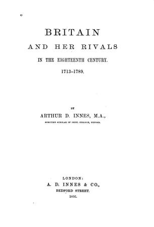 Britain and Her Rivals in the Eighteenth Century  1713 1789 PDF