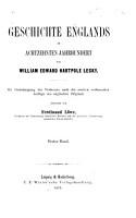 Geschichte Englands im achtzehnten Jahrhundert PDF