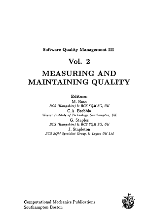 Software Quality Management III