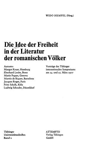 Die Idee der Freiheit in der Literatur der romanischen V  lker PDF